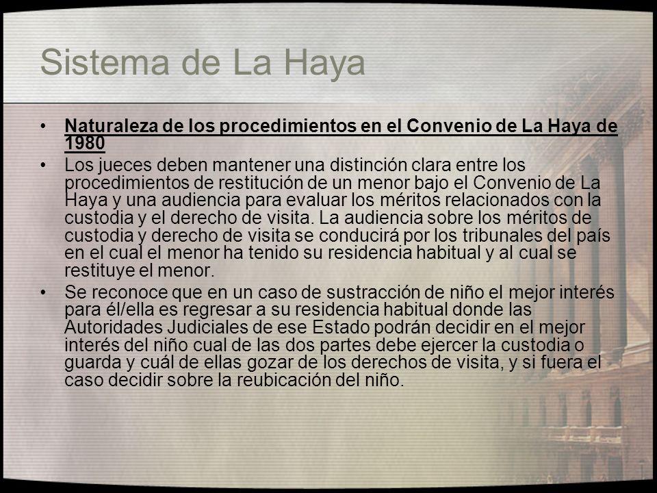 Sistema de La Haya Naturaleza de los procedimientos en el Convenio de La Haya de 1980.