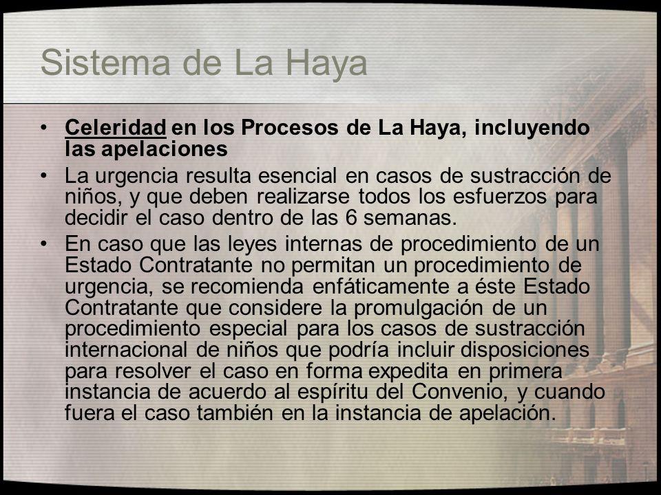 Sistema de La Haya Celeridad en los Procesos de La Haya, incluyendo las apelaciones.