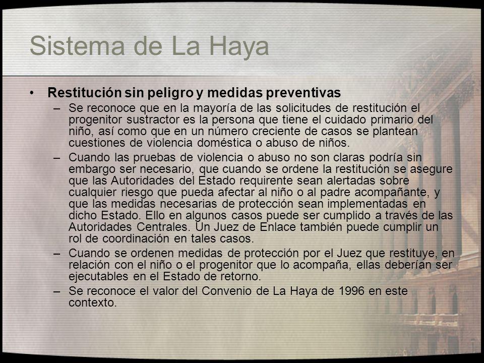 Sistema de La Haya Restitución sin peligro y medidas preventivas