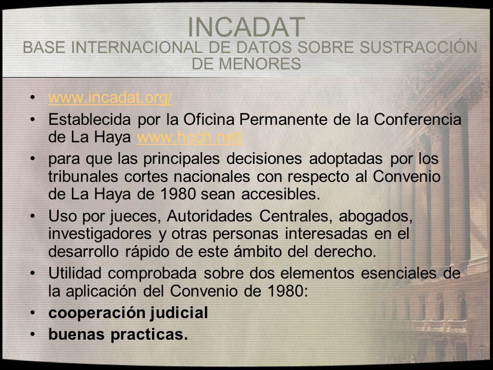 INCADAT BASE INTERNACIONAL DE DATOS SOBRE SUSTRACCIÓN DE MENORES