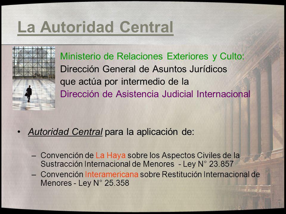 La Autoridad Central Ministerio de Relaciones Exteriores y Culto: