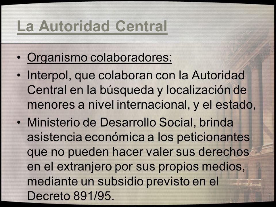 La Autoridad Central Organismo colaboradores: