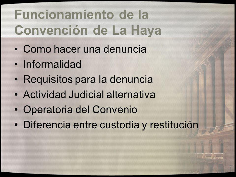 Funcionamiento de la Convención de La Haya
