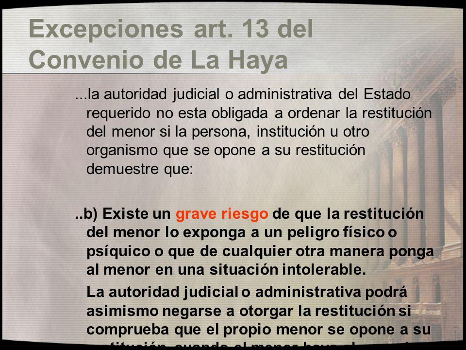 Excepciones art. 13 del Convenio de La Haya