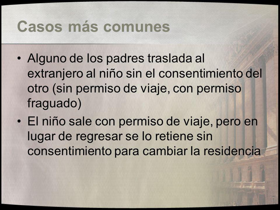 Casos más comunes Alguno de los padres traslada al extranjero al niño sin el consentimiento del otro (sin permiso de viaje, con permiso fraguado)
