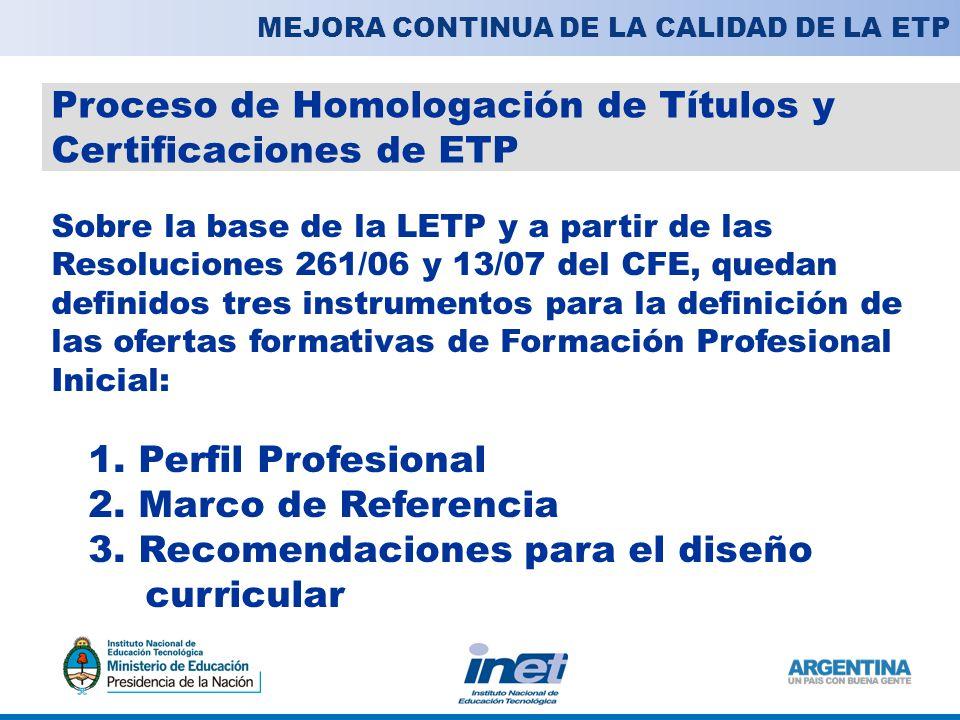 Proceso de Homologación de Títulos y Certificaciones de ETP