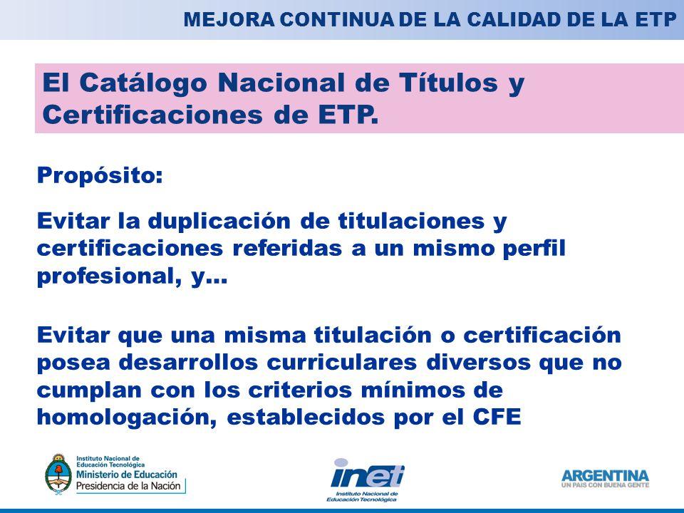 El Catálogo Nacional de Títulos y Certificaciones de ETP.