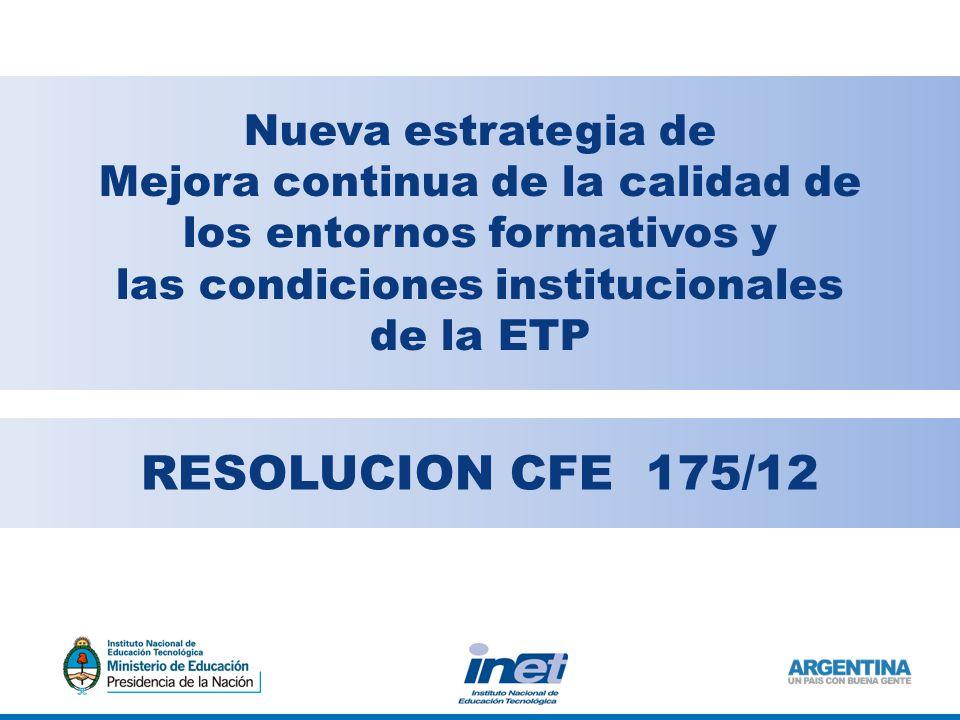 RESOLUCION CFE 175/12 Nueva estrategia de