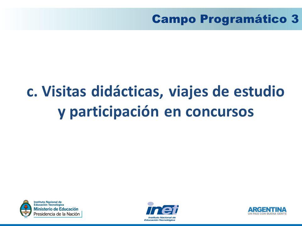 c. Visitas didácticas, viajes de estudio y participación en concursos