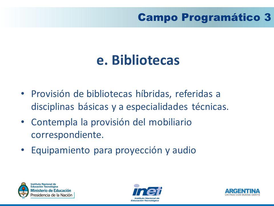 e. Bibliotecas Campo Programático 3