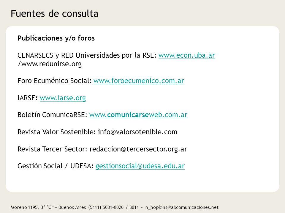 Fuentes de consulta Publicaciones y/o foros