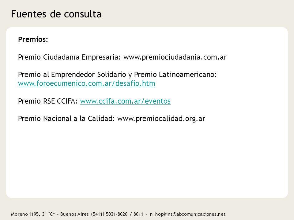 Fuentes de consulta Premios: