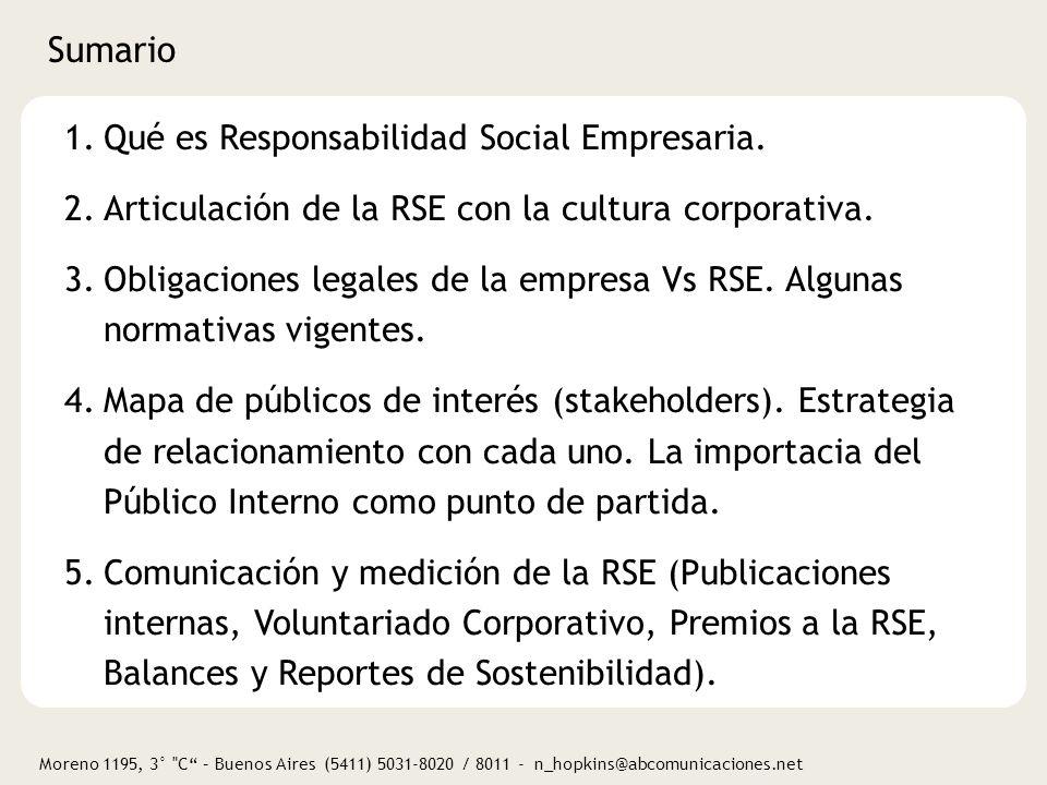 Sumario Qué es Responsabilidad Social Empresaria.