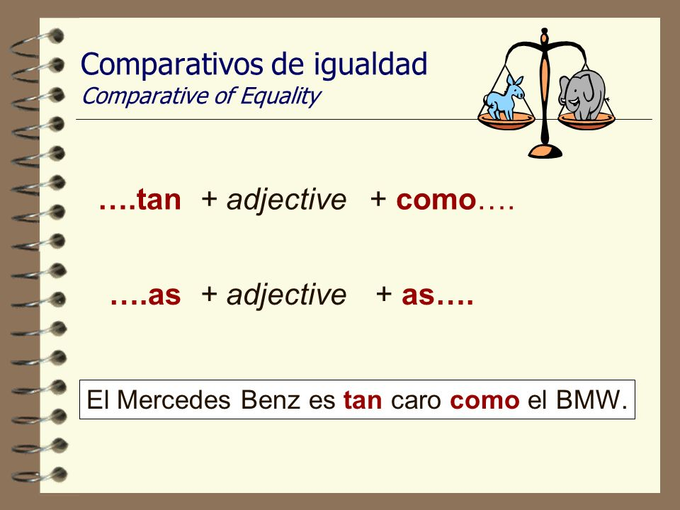Comparativos de igualdad Comparative of Equality