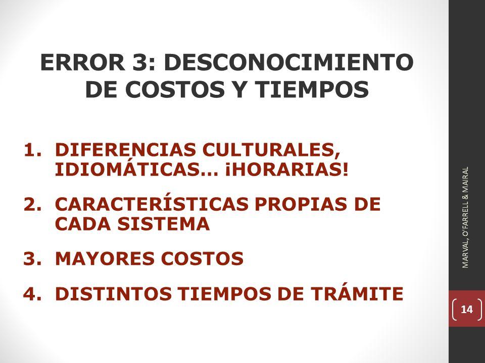 ERROR 3: DESCONOCIMIENTO DE COSTOS Y TIEMPOS