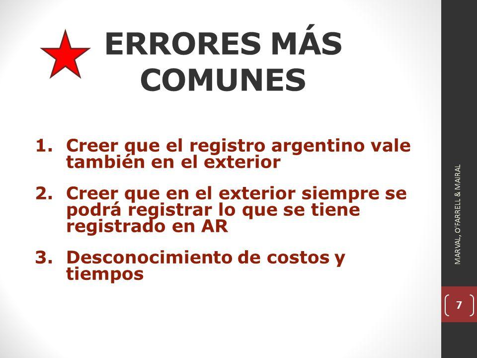 ERRORES MÁS COMUNES Creer que el registro argentino vale también en el exterior.