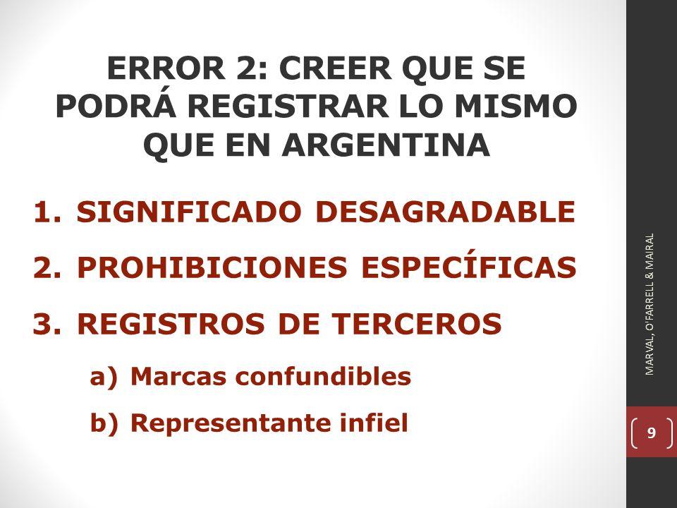 ERROR 2: CREER QUE SE PODRÁ REGISTRAR LO MISMO QUE EN ARGENTINA