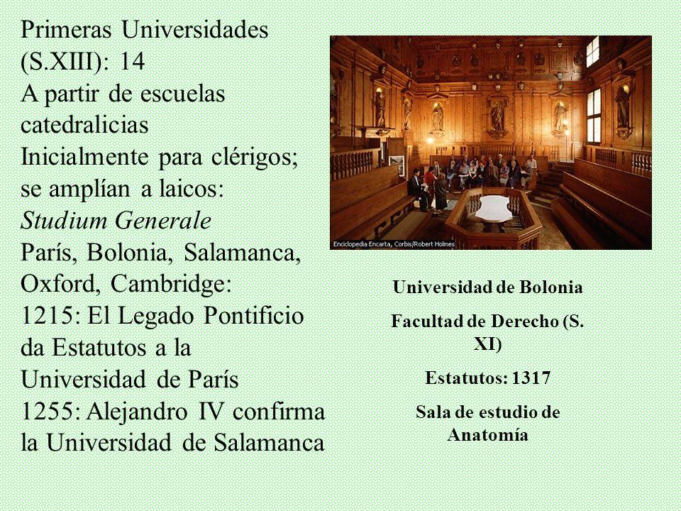 Primeras Universidades (S.XIII): 14 A partir de escuelas catedralicias