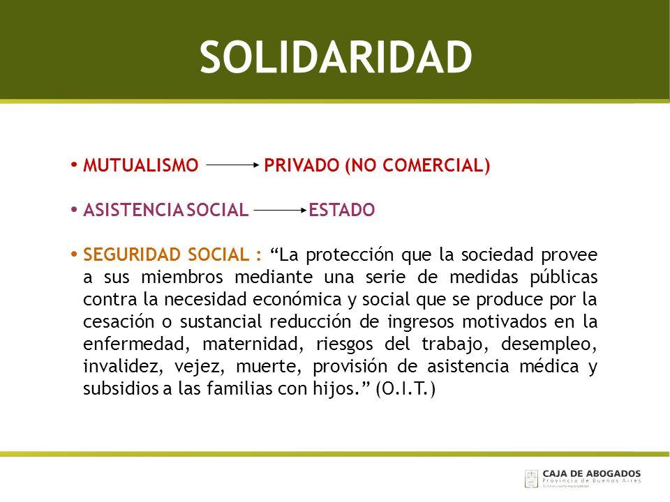 SOLIDARIDAD MUTUALISMO PRIVADO (NO COMERCIAL) ASISTENCIA SOCIAL ESTADO