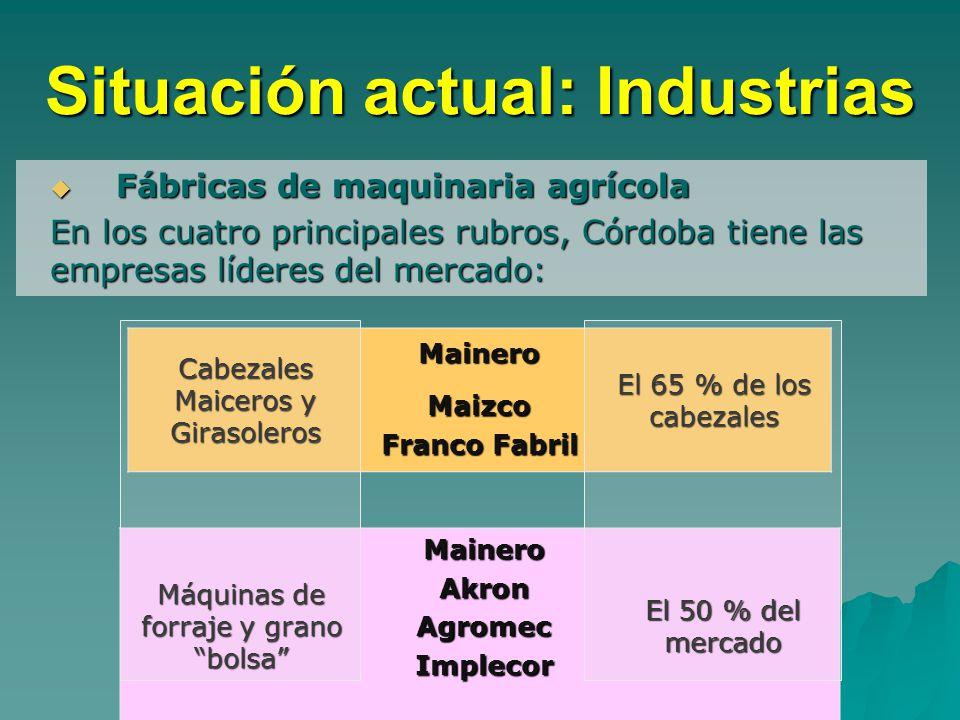 Situación actual: Industrias