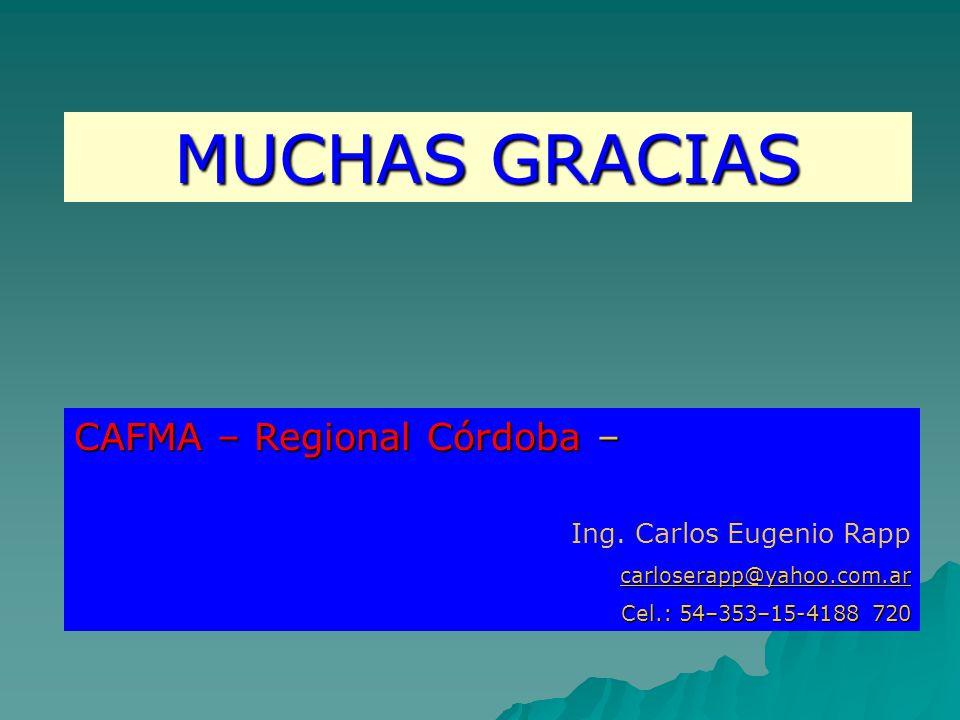 MUCHAS GRACIAS CAFMA – Regional Córdoba – Ing. Carlos Eugenio Rapp