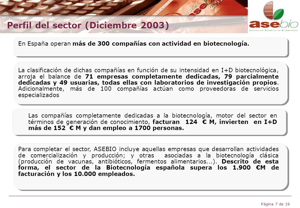 Perfil del sector (Diciembre 2003)