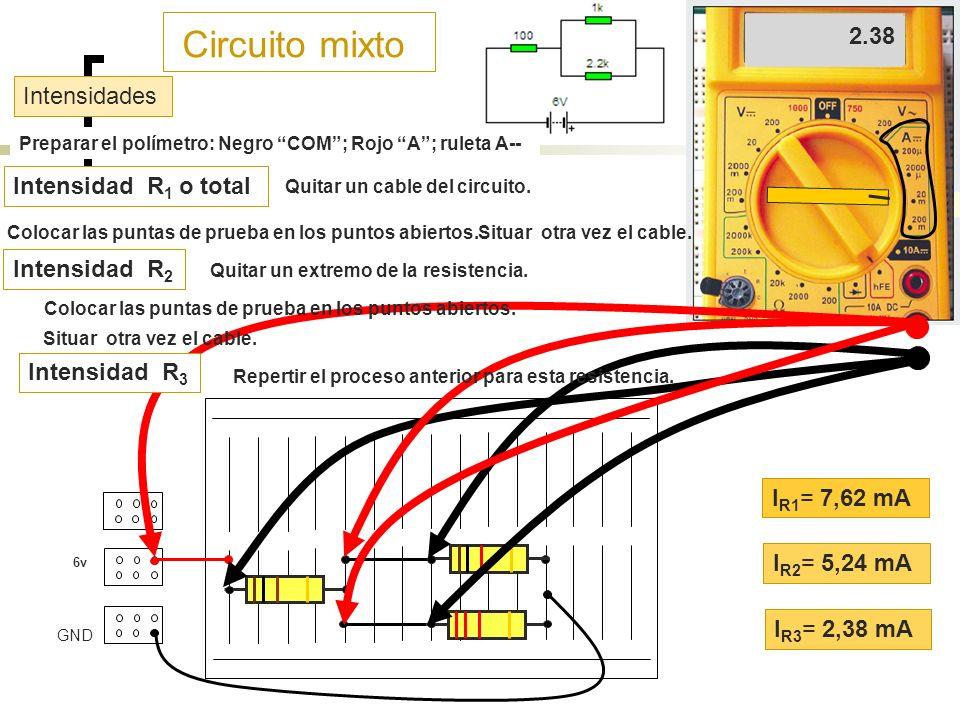 Circuito mixto 7.62 5.24 2.38 Intensidades Intensidad R1 o total