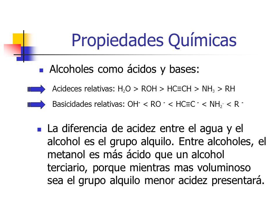 Propiedades Químicas Alcoholes como ácidos y bases: