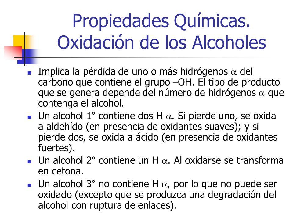 Propiedades Químicas. Oxidación de los Alcoholes