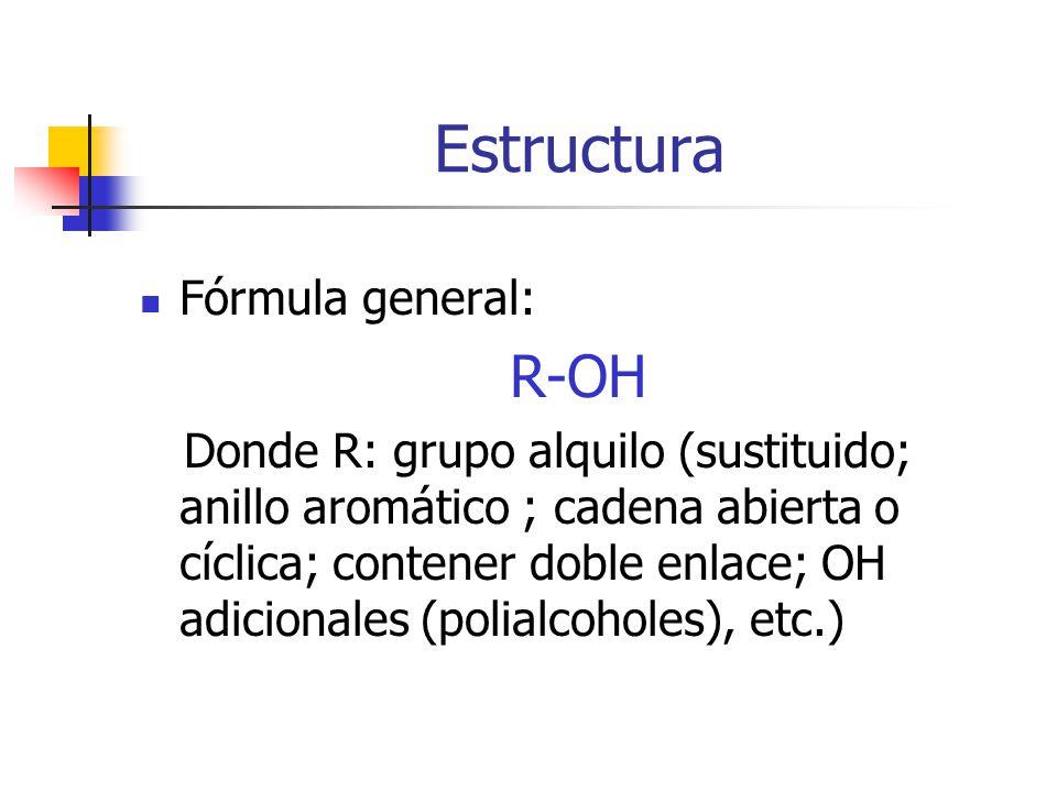 Estructura R-OH Fórmula general: