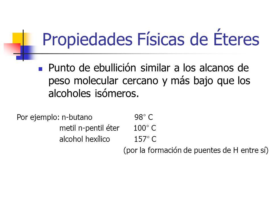 Propiedades Físicas de Éteres