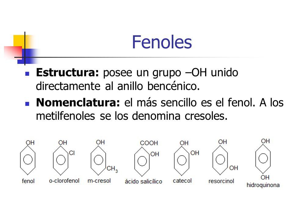 Fenoles Estructura: posee un grupo –OH unido directamente al anillo bencénico.