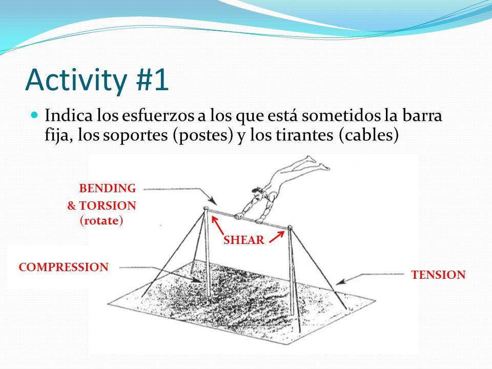 Activity #1 Indica los esfuerzos a los que está sometidos la barra fija, los soportes (postes) y los tirantes (cables)