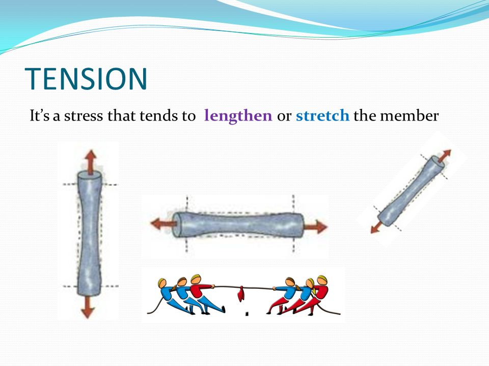 TENSION It's a stress that tends to lengthen or stretch the member