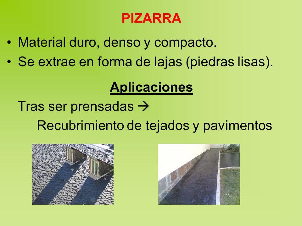 PIZARRA Material duro, denso y compacto. Se extrae en forma de lajas (piedras lisas). Aplicaciones.