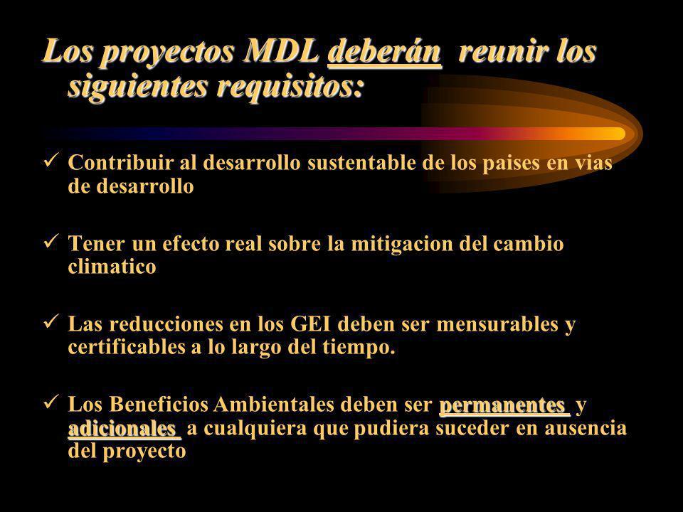 Los proyectos MDL deberán reunir los siguientes requisitos: