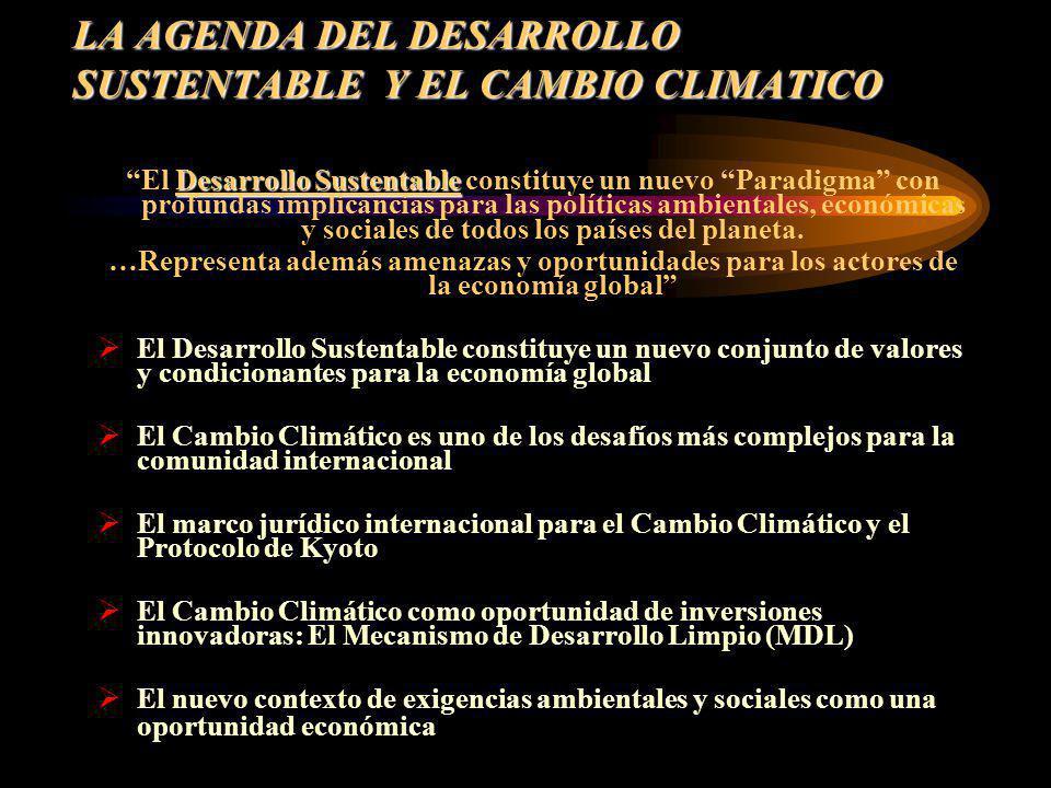 LA AGENDA DEL DESARROLLO SUSTENTABLE Y EL CAMBIO CLIMATICO