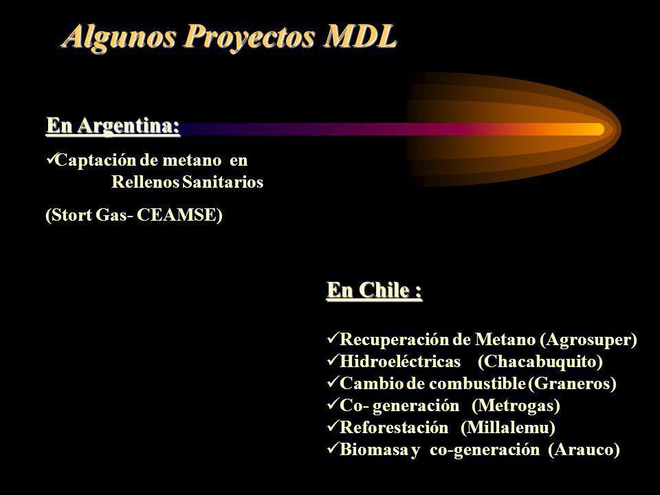 Algunos Proyectos MDL En Argentina: En Chile :