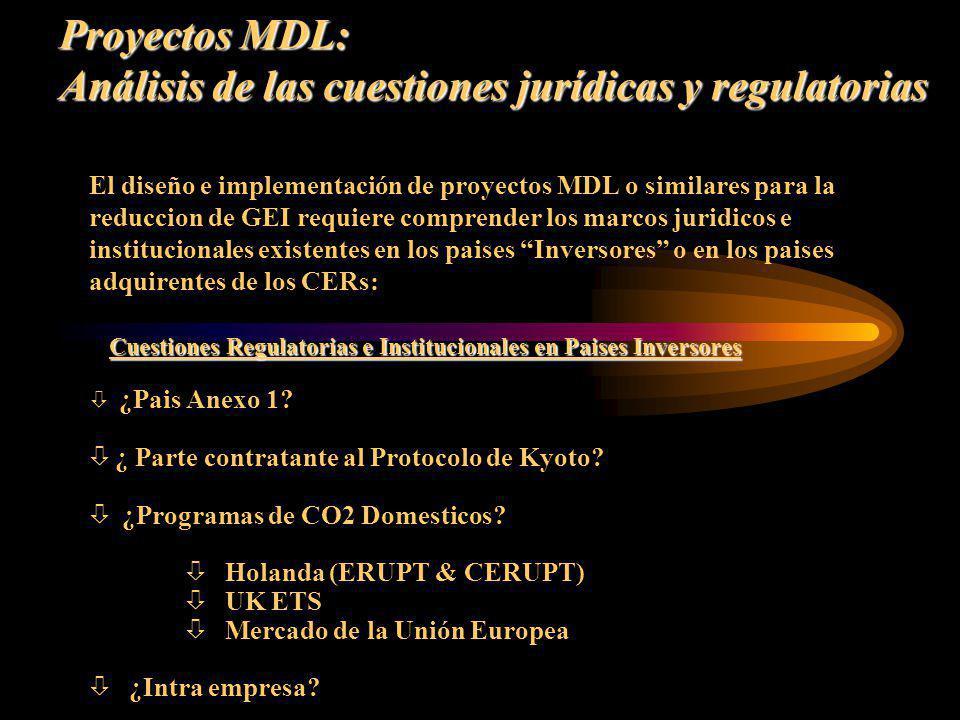 Proyectos MDL: Análisis de las cuestiones jurídicas y regulatorias