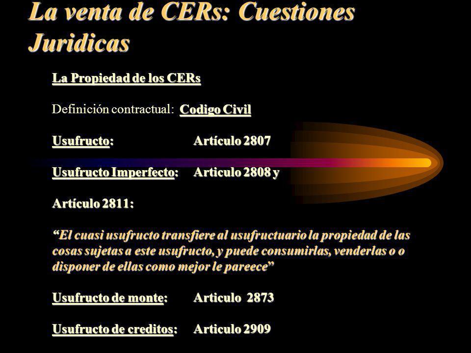 La venta de CERs: Cuestiones Juridicas
