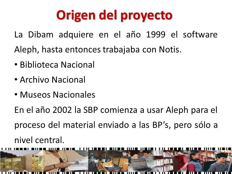 Origen del proyectoLa Dibam adquiere en el año 1999 el software Aleph, hasta entonces trabajaba con Notis.