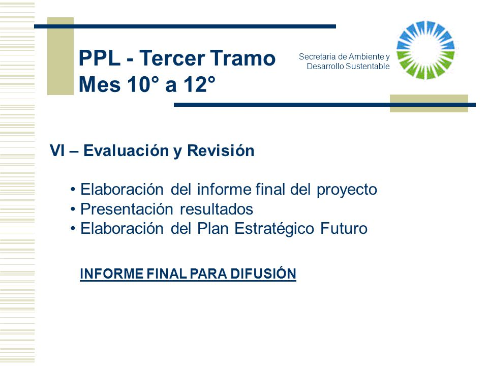 PPL - Tercer Tramo Mes 10° a 12° VI – Evaluación y Revisión