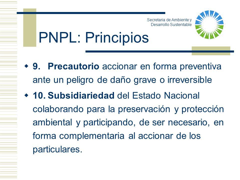 PNPL: Principios Secretaria de Ambiente y Desarrollo Sustentable.