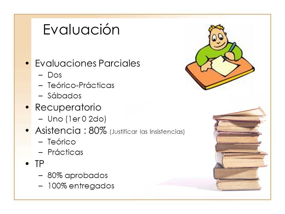 Evaluación Evaluaciones Parciales Recuperatorio