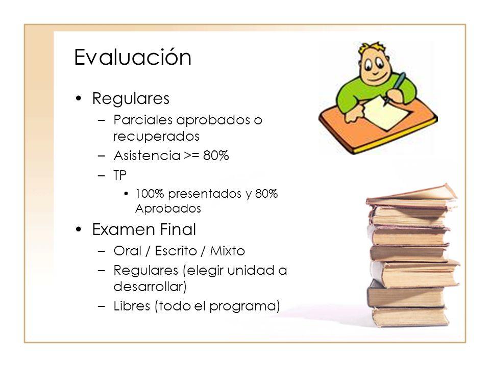 Evaluación Regulares Examen Final Parciales aprobados o recuperados