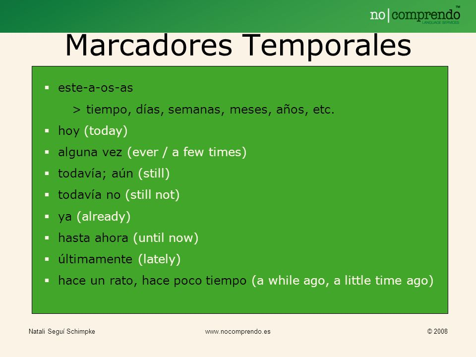 Marcadores Temporales