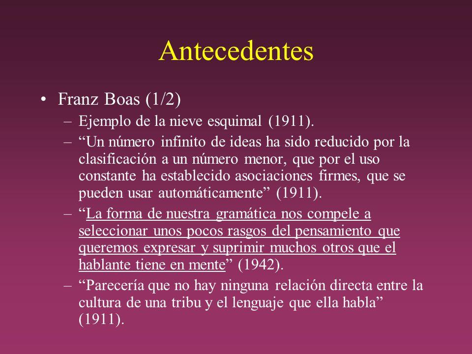 Antecedentes Franz Boas (1/2) Ejemplo de la nieve esquimal (1911).