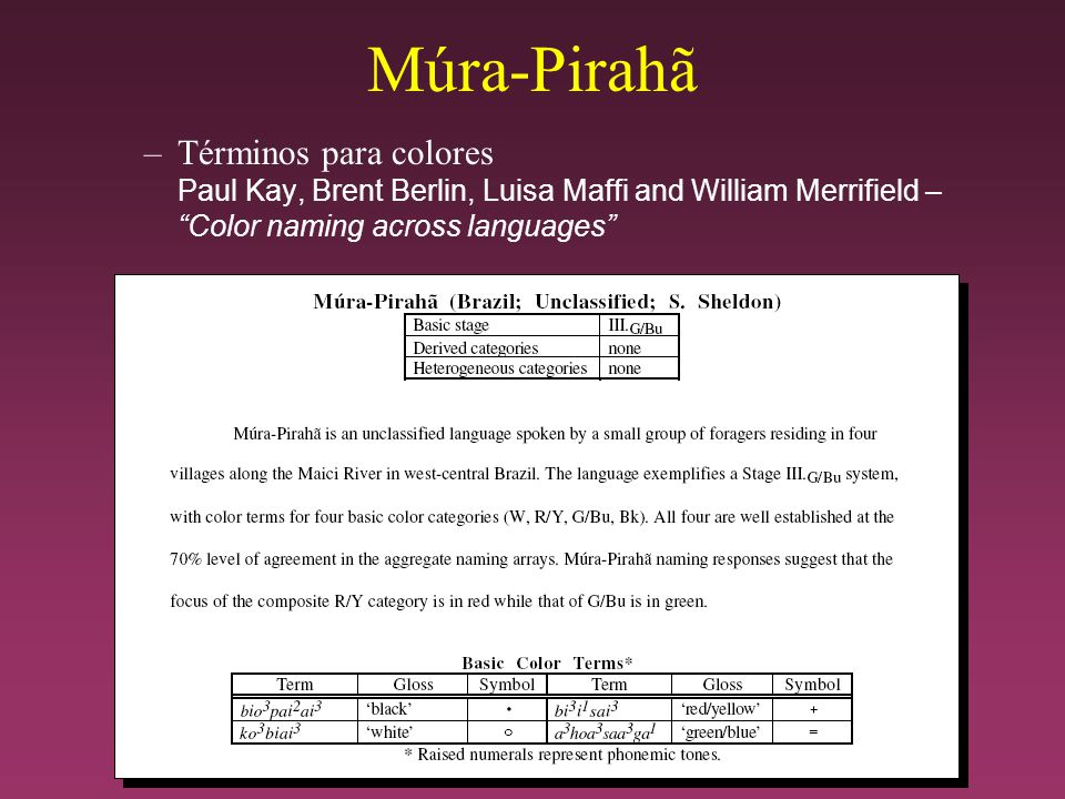 Múra-Pirahã Términos para colores Paul Kay, Brent Berlin, Luisa Maffi and William Merrifield – Color naming across languages
