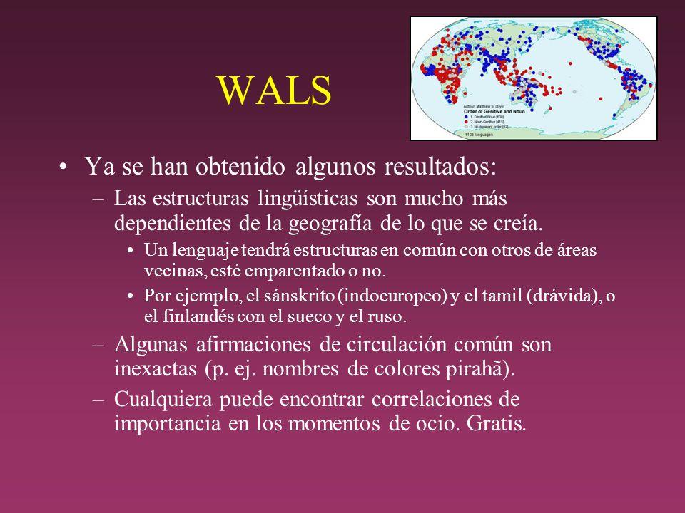 WALS Ya se han obtenido algunos resultados: