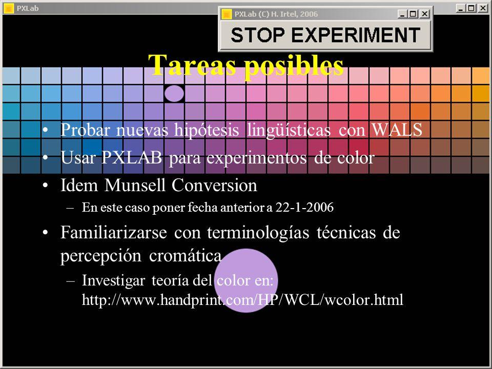 Tareas posibles Probar nuevas hipótesis lingüísticas con WALS